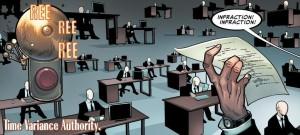 Un grupo de fríos funcionarios sin cara vigilan el Tiempo en el mundo de Marvel. No sé dónde estarían en Endgame